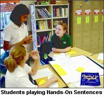 Students Playing Hands-On Sentences, a grammar skill-building game from Portico Books